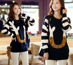Sweater Coats, Pullover Sweaters, Korean Style, Round Collar, Antlers, Korean Fashion, Sweaters For Women, Cartoon, Sweet