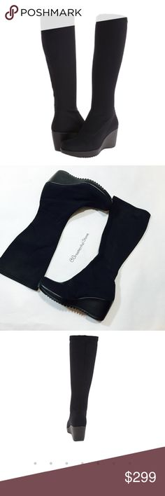 La CANADIENNE GAETANA BLACK WEDGE STRETCH BOOTS EUC, worn once or twice, no issues, looks brand new! La Canadienne Shoes Heeled Boots