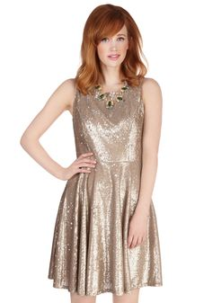 Eva Franco Poised Philanthropist Dress. Speaking about your charitable accomplishments, you feel positively poised in the unique neckline of this dress by Eva Franco! #gold #prom #modcloth