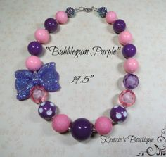 """Bubblegum Purple"" Chunky Beaded Necklace, Photo Prop, Child, Adult"