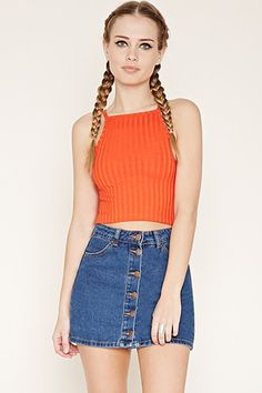 Buy it now. FOREVER21 Women's  Tomato Ribbed Knit Cropped Cami. crop top,cami ,square neckline, cropped cami , topcorto, croptops, croptops, croptop, topcrop, topscrops, cropped, bailarina, topbailarina, corto, camisolacorta, topcortoestilobandeau, crop, bralet, strappybralet, bandeautop. Red FOREVER21  crop top  for woman.