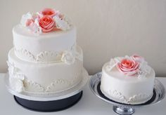 Wedding cake with pink roses!