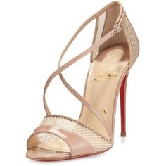 Christian Louboutin Slikova Patent Mesh Red Sole Sandal (1,720 BAM) ❤ liked on Polyvore featuring shoes, sandals, louboutin, percata, nude, nude high heel shoes, open toe sandals, ankle tie sandals, mesh sandals and ankle wrap sandals