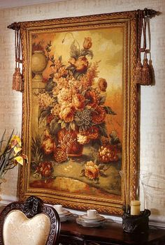 Generous Blooms Tapestry. h1Generous Blooms Tapestry_h1Generous Blooms Tapestry. Created by skilled designers, this beautiful tapestry was jacquard-woven in the mills of Europe, utilizing decades of experience from the worlds finest weavers... . See More Wall Tapestries at http://www.ourgreatshop.com/Wall-Tapestries-C1115.aspx