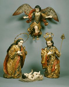 "Wood! with glass eyes! The Metropolitan Museum of Art,  Nativity Group with Angel, 18th century Guatemalan Wood, polychromed and gilded, with glass eyes and silver–gilt halos; ""Nativity Group with Angel [Guatemalan]"" (64.164.168-.172)"