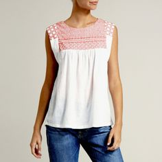 Sashiko embroidered smock top in coral. Shop here: www.hardtofind.com.au