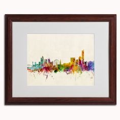 'Manchester England Skyline' by Michael Tompsett Framed Graphic Art