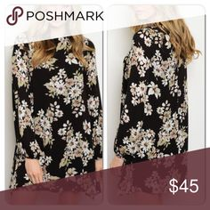 Long sleeve floral dress Gorgeous long sleeve floral dress. Material is light so could be worn in spring or cool summer day . Colors are so pretty! Button closure back of neck. Im modeling a small in photos Dresses Long Sleeve