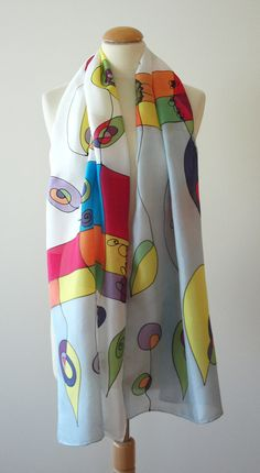 Silk scarf - ponge  18 x 71 $60.00, via Etsy.