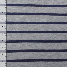 Navy Blue Heather Gray Stripe Cotton Jersey Blend Knit Fabric