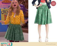 Liv's green skirt on Liv and Maddie.  Outfit Details: http://wornontv.net/39117/ #LivandMaddie