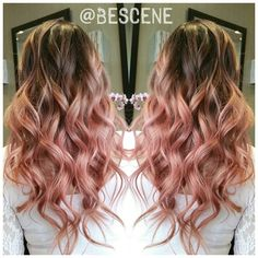 ROSEBLONDE BALAYAGE OMBRE! Love the rose tones in the @Schwarzkopfusa #Igora color line! Base:5-26,0-89 30vol Ends:9.5-18,0-89 20vol tousled waves by my assistant @maayanbescene #bescene