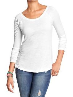 Womens Scoop-Neck Long-Sleeved Tees no pink or teal (M or L)