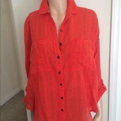Shirt Cotton coral shirt Free People Tops Button Down Shirts