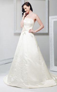 Ewiges Satin Spitze Brautkleid mit natürlicher Taille mit Gericht Schleppe
