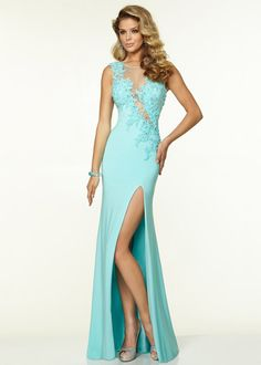 High Illusion Neck Applique Beaded Fitted High Slit Aqua Prom Dress--$205
