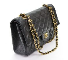 Chanel Vintage Black Quilted Lambskin Classic 2.55 Double Flap Bag #porteropintowin
