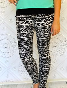 Black and Cream or Soft White Aztec Leggings in by Gogreenstyle, $42.00