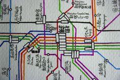 Hand Drawn-Map of Japanese Rail System by Wyton Chu ...woah!