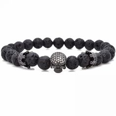Quality Brand Trendy Natural Beads Strand Bracelet Micro Pave CZ Skeleton Skull Black Lava Rock Stone Energy Men European Buddha Jewelry with free worldwide shipping on AliExpress Mobile Skull Bracelet, Bangle Bracelets, Anchor Bracelets, Skeleton Bracelet, Lava Bracelet, Friendship Bracelets, Buddha Jewelry, Gold Skull, Skulls