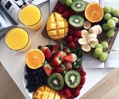 fruit, summer breakfast with Greek yoghurt and honney
