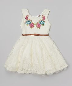 Take a look at the Ivory Lace Belted A-Line Dress - Girls on #zulily today!