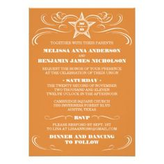 ORANGE - The example shown is a burnt orange Southern Style Wedding Invitation card. Browse this and more orange hued invitations.