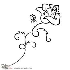 Tatuaggio di Rosa in boccio, Perfezione, amore tattoo - custom tattoo designs on TattooTribes.com