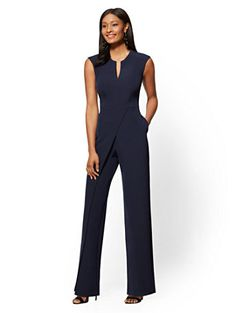 Avenue - Seamed Wrap Jumpsuit - New York & Company Dressy Jumpsuit Wedding, Jumpsuit Dressy, Wrap Jumpsuit, Black Jumpsuit, Stylish Outfits, Fashion Outfits, Cute Outfits, Office Outfits, Fashion Clothes