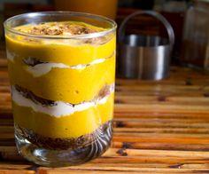 Pumpkin Custard Layered Spice Cake... in a glass.  (Vegan, Gluten/Soy/Nut Free)