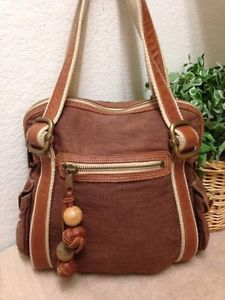 782557cf49e5 Fossil What Vintage Are You Brown Canvas Leather Trim Handbag Shoulder Bag  Hole