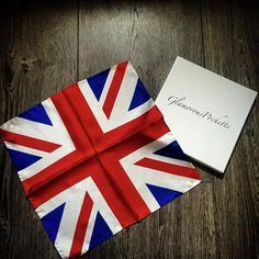 Union Jack Silk Pocket Square Handkerchief by by GlamorousPochette