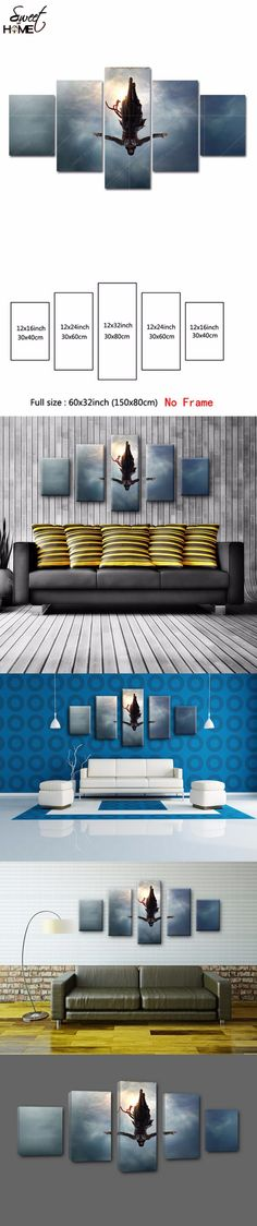 5 Panels Modern Home Decor Assassins Creed Movie Pictures Wall Art Living Room Painting Large Canvas Art Unframed $24.25