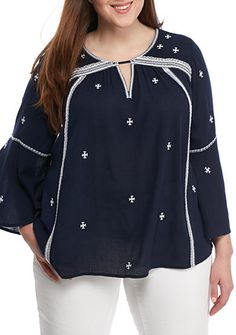 Crown & Ivy™ Plus Size Embroidery Gauze Shirt