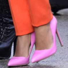Solange Knowles wearing pink Rupert Sanderson pumps