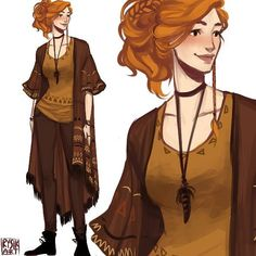 Female Human Half Elf Wizard Sorcerer Cleric Red Hair Simple Clothes PC