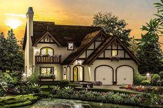 A sheltered entry porch ushers you into the foyer of this lovely Tudor home plan designed for a narrow lot.Both the living and dining rooms are open to each other for wonderful views and ease of movement.The breakfast nook and kitchen are also open to each other making the space seem even larger.On the second floor, the vaulted master suite has a walk-in closet with a plant shelf.Bedroom three has a charming balcony accessed through double doors.