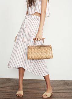Faithfull The Brand - Caribe Wrap Skirt In Bay Stripe Print - Natural