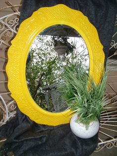 Your place to buy and sell all things handmade Mirror Painting, Mirror Mirror, Mellow Yellow, Color Yellow, Yellow Mirrors, Mirror Makeover, Framed Chalkboard, Yellow Painting, Formal Living Rooms