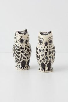 Hand-painted owl salt and pepper shakers