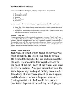 Printables Scientific Method Worksheet Answers scientific method controls and variables please write your 14 best images of worksheet scenarios identifying science answe