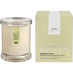 Ecoya French Pear Mini Metro Candle 50g ($23) ❤ liked on Polyvore featuring home, home decor, candles & candleholders, apple candle, pear shaped candles, french candles, fruit jar and mini jars