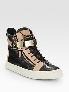 Giuseppe+Zanotti Cracked+Leather+High-Top+Sneakers