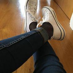 aca83581dfe Ria Francisco · Socks · Bryony Dodds wears fishnet socks with her black ...