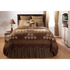 """The Barrington quilted bedding collection features a stunning rustic patchwork design. Barrington Quilt. I have all the accessories you need to make your quilt ensemble complete. 1 King Quilt (97"""" x 110""""). 