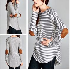 """Striped Shirt with Elbow Patches condition: new with tags retail price: $38 details: - Semi-loose fit, long sleeve, round neck, hi-low top w/ rounded hems - Faux suede elbow patch on sleeves - Heavy weight striped knit fabric-soft, drapes well, has stretch - Cotton, Polyester, Rayon - 1 small, 2 medium - measurements across: S-17"""", M-18"""", L-19""""   Price firm unless bundled. No trades. Ask ?s. Happy poshing!  pamcakesyumyum Tops Tees - Long Sleeve"""