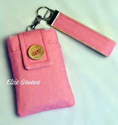 Pretty is Pink Linen Phone Case with Wristlet & by elsiegeneva, $34.00
