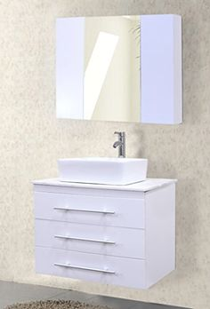 Special Offers - Design Element Portland Wall-Mount Single Vessel Square Ceramic Sink Vanity Set with Carrara White Marble Countertop and White Finish 30-Inch - In stock & Free Shipping. You can save more money! Check It (May 28 2016 at 10:53PM) >> http://garagecabinetusa.net/design-element-portland-wall-mount-single-vessel-square-ceramic-sink-vanity-set-with-carrara-white-marble-countertop-and-white-finish-30-inch/