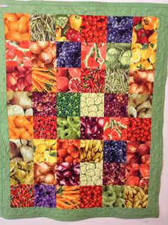 Handmade Quilt, Table Topper, Wall Quilt, Picnic Quilt, Fruit, Vegetable Quilt, Green Quilt, by HappyGoQuilting on Etsy
