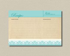 Bridal Shower Recipe Cards - Elegant Tiffany blue and lace. $6.00, via Etsy.